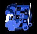 Native mobile app abstract concept vector illustration. Smartphone application, programming language, operating system, online store, marketplace, web browser, software dark mode metaphor.